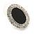 Crystal, Black Enamel Oval Stud Earrings In Rhodium Plating - 20mm L - view 5