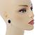 Crystal, Black Enamel Oval Stud Earrings In Rhodium Plating - 20mm L - view 2