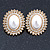 Large Crystal, Pearl Oval Shape Clip On Stud Earrings In Gold Plating - 30mm L - view 6