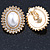 Large Crystal, Pearl Oval Shape Clip On Stud Earrings In Gold Plating - 30mm L - view 7