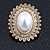Large Crystal, Pearl Oval Shape Clip On Stud Earrings In Gold Plating - 30mm L - view 8