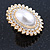 Large Crystal, Pearl Oval Shape Clip On Stud Earrings In Gold Plating - 30mm L - view 9