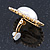 Large Crystal, Pearl Oval Shape Clip On Stud Earrings In Gold Plating - 30mm L - view 4