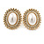 Large Crystal, Pearl Oval Shape Clip On Stud Earrings In Gold Plating - 30mm L