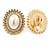 Large Crystal, Pearl Oval Shape Clip On Stud Earrings In Gold Plating - 30mm L - view 5