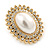 Large Crystal, Pearl Oval Shape Clip On Stud Earrings In Gold Plating - 30mm L - view 3