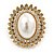 Large Crystal, Pearl Oval Shape Clip On Stud Earrings In Gold Plating - 30mm L - view 2