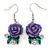 Purple Acrylic Rose with Crystal, Green Enamel Leaves Drop Earrings In Silver Tone - 40mm L