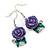 Purple Acrylic Rose with Crystal, Green Enamel Leaves Drop Earrings In Silver Tone - 40mm L - view 5