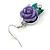 Purple Acrylic Rose with Crystal, Green Enamel Leaves Drop Earrings In Silver Tone - 40mm L - view 3