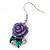 Purple Acrylic Rose with Crystal, Green Enamel Leaves Drop Earrings In Silver Tone - 40mm L - view 6