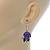 Purple Acrylic Rose with Crystal, Green Enamel Leaves Drop Earrings In Silver Tone - 40mm L - view 4