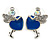Funky Crystal Fairy with Blue Enamel Heart Stud Earrings In Rhodium Plating - 23mm L
