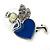 Funky Crystal Fairy with Blue Enamel Heart Stud Earrings In Rhodium Plating - 23mm L - view 4