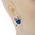 Funky Crystal Fairy with Blue Enamel Heart Stud Earrings In Rhodium Plating - 23mm L - view 5