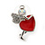 Funky Crystal Fairy with Red Enamel Heart Stud Earrings In Rhodium Plating - 23mm L - view 3