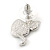 Funky Crystal Fairy with Red Enamel Heart Stud Earrings In Rhodium Plating - 23mm L - view 4
