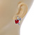 Funky Crystal Fairy with Red Enamel Heart Stud Earrings In Rhodium Plating - 23mm L - view 5