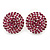 Button Shape Fuchsia Crystal Stud Earrings In Rhodium Plating - 20mm D