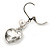 Clear Crystal Heart Drop Earrings In Silver Tone Metal with Leverback Closure - 40mm L - view 4