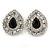 Statement Clear/ Black CZ Teardrop Stud Earrings In Rhodium Plating - 35mm L