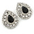 Statement Clear/ Black CZ Teardrop Stud Earrings In Rhodium Plating - 35mm L - view 8