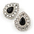 Statement Clear/ Black CZ Teardrop Stud Earrings In Rhodium Plating - 35mm L - view 6
