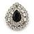 Statement Clear/ Black CZ Teardrop Stud Earrings In Rhodium Plating - 35mm L - view 7