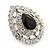 Statement Clear/ Black CZ Teardrop Stud Earrings In Rhodium Plating - 35mm L - view 3