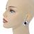Statement Clear/ Black CZ Teardrop Stud Earrings In Rhodium Plating - 35mm L - view 2