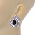 Statement Clear/ Black CZ Teardrop Stud Earrings In Rhodium Plating - 35mm L - view 5