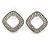 Rhodium Plated Clear Crystal Open Cut Square Stud Earrings - 20mm