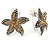 2 Tone Textured Starfish Clip-on Earrings - 20mm - view 5