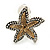2 Tone Textured Starfish Clip-on Earrings - 20mm - view 2