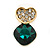 Clear/ Emerald Green Crystal Heart Stud Earrings In Gold Plating - 20mm L - view 2
