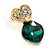Clear/ Emerald Green Crystal Heart Stud Earrings In Gold Plating - 20mm L - view 3