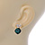 Clear/ Emerald Green Crystal Heart Stud Earrings In Gold Plating - 20mm L - view 6