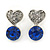 Small Clear/ Sapphire Crystal Heart Stud Earrings In Rhodium Plating - 18mm L
