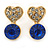 Small Clear/ Sapphire Crystal Heart Stud Earrings In Gold Plating - 18mm L