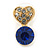 Small Clear/ Sapphire Crystal Heart Stud Earrings In Gold Plating - 18mm L - view 6