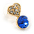 Small Clear/ Sapphire Crystal Heart Stud Earrings In Gold Plating - 18mm L - view 3