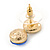Small Clear/ Sapphire Crystal Heart Stud Earrings In Gold Plating - 18mm L - view 4