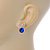 Small Clear/ Sapphire Crystal Heart Stud Earrings In Gold Plating - 18mm L - view 5