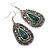 Teardrop Hematite Crystal, Green Resin Drop Earrings In Silver Tone - 50mm L - view 5