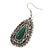 Teardrop Hematite Crystal, Green Resin Drop Earrings In Silver Tone - 50mm L - view 6