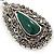 Teardrop Hematite Crystal, Green Resin Drop Earrings In Silver Tone - 50mm L - view 3