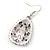 Teardrop Hematite Crystal, Green Resin Drop Earrings In Silver Tone - 50mm L - view 4
