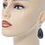 Teardrop Hematite Crystal, Green Resin Drop Earrings In Silver Tone - 50mm L - view 2