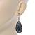 Teardrop Hematite Crystal, Green Resin Drop Earrings In Silver Tone - 50mm L - view 7