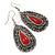 Teardrop Hematite Crystal, Red Resin Drop Earrings In Silver Tone - 50mm L